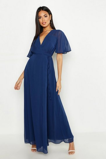 Navy Chiffon Angel Sleeve Wrap Maxi Bridesmaid Dress