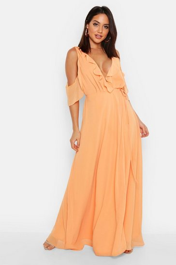 Womens Apricot Chiffon Frill Cold Shoulder Wrap Maxi Dress