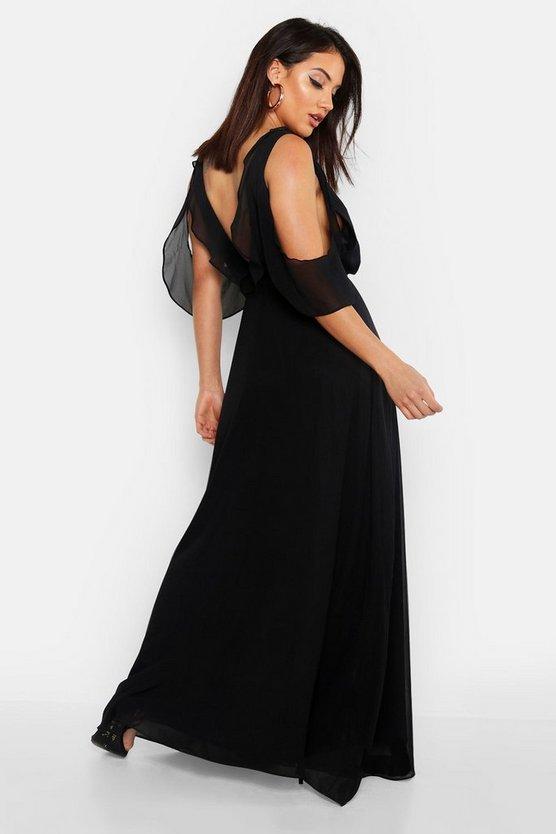 Chiffon Frill Cold Shoulder Wrap Maxi Dress