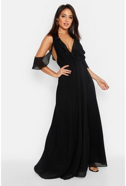 Black Chiffon Frill Cold Shoulder Wrap Maxi Dress