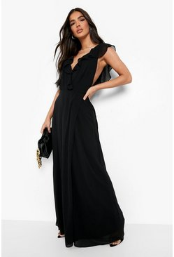 Black Frill Wrap Detail Chiffon Maxi Dress