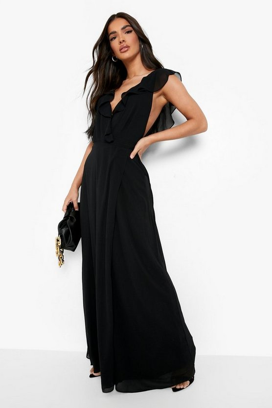 Womens Black Frill Wrap Detail Chiffon Maxi Dress