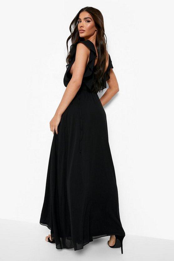 Frill Wrap Detail Chiffon Maxi Dress
