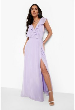 Womens Lilac Frill Wrap Detail Chiffon Maxi Dress