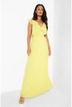 Yellow Frill Wrap Detail Chiffon Maxi Bridesmaid Dress