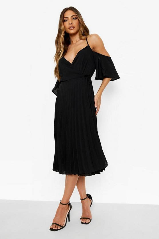 Black Woven Cold Shoulder Pleated Midi Skater Dress