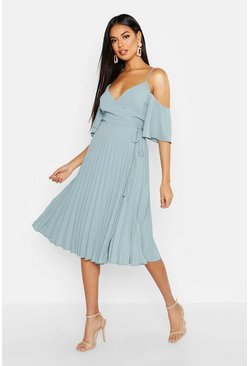 Blue Woven Shoulder Pleated Midi Skater Bridesmaid Dress