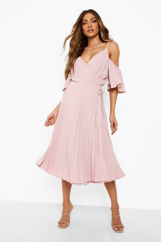 Blush Woven Shoulder Pleated Midi Skater Bridesmaid Dress