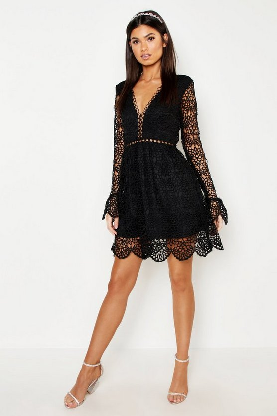 Womens Black Premium Lace Flared Sleeve Skater Dress