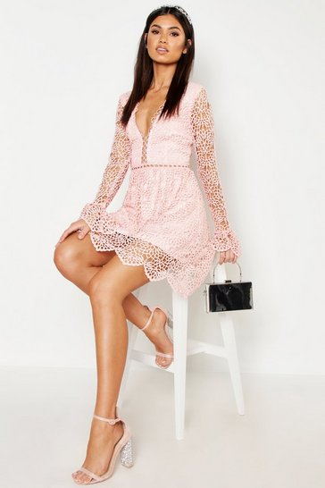 Womens Blush Premium Lace Flared Sleeve Skater Dress