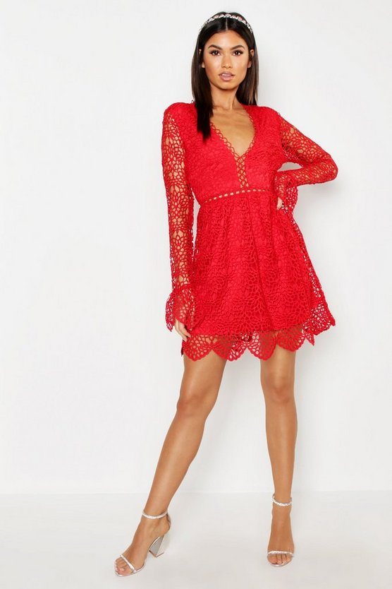 Womens Red Premium Lace Flared Sleeve Skater Dress