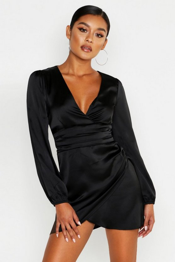 Womens Black Satin Wrap Detail Mini Dress