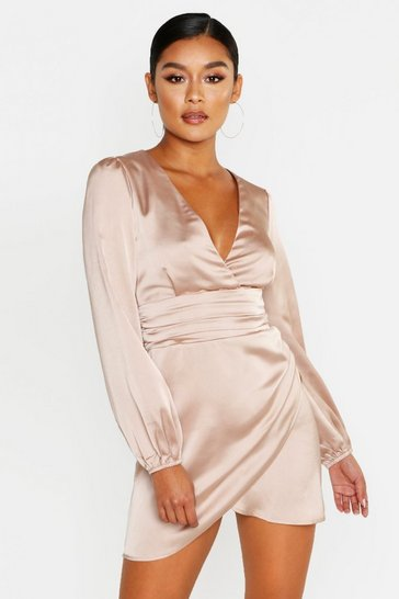 Womens Champagne Satin Wrap Detail Mini Dress