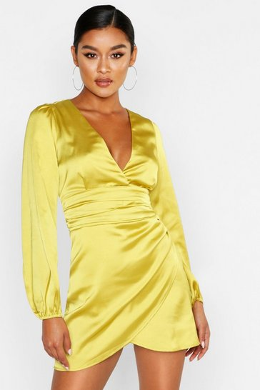 Womens Chartreuse Satin Wrap Detail Mini Dress