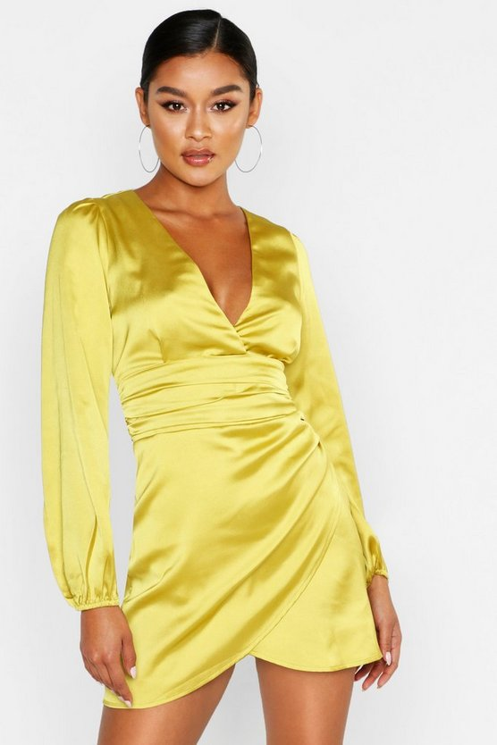 Satin-Minikleid mit Wickeldesign, Chartreuse, Damen