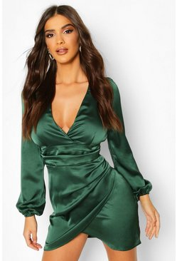 Emerald Satin Wrap Detail Mini Dress