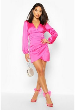 Hot pink Satin Wrap Detail Mini Dress