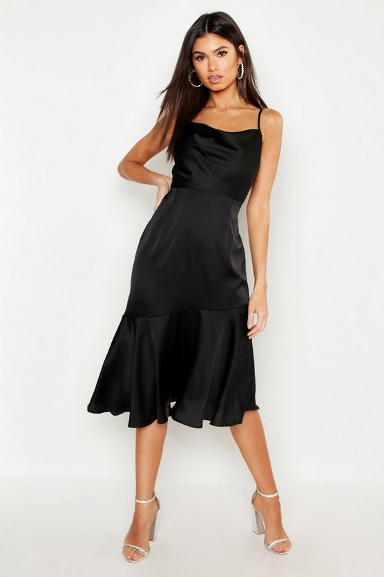 Womens Black Satin Ruffle Hem Midi Dress