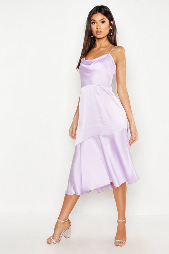 Womens Lilac Satin Ruffle Hem Midi Dress