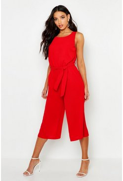 Womens Red Culotte Jumpsuit