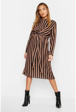 Womens Black Woven Stripe Tie Front Midi Dress