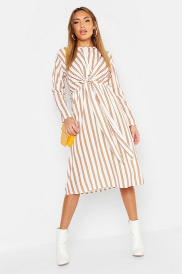 Womens Cream Woven Stripe Tie Front Midi Dress