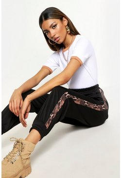 Womens Black Woven Snake Side Panel Jogger