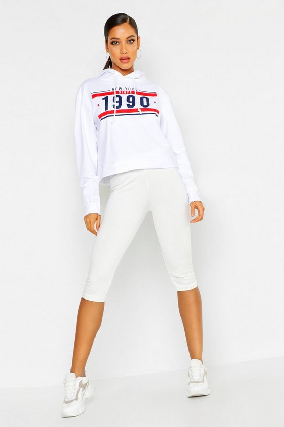 Womens White New York Since 1990 Oversized Hoody