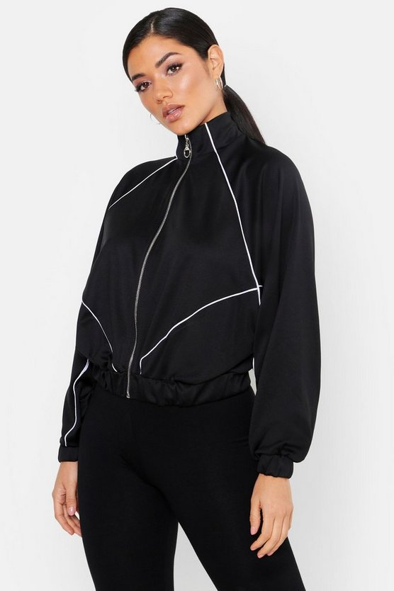 Black Trico Panelled Oversize Zip Through Hoody