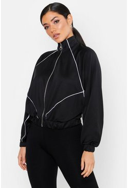 Womens Black Trico Panelled Oversize Zip Through Hoody