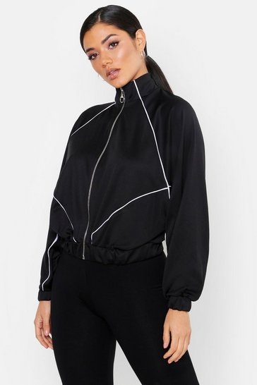 Womens Trico Panelled Oversize Zip Through Hoody