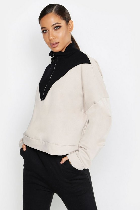 Womens Stone O Ring Zip Funnel Neck Sweat