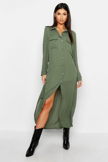 Womens Khaki Woven Midi Shirt Dress