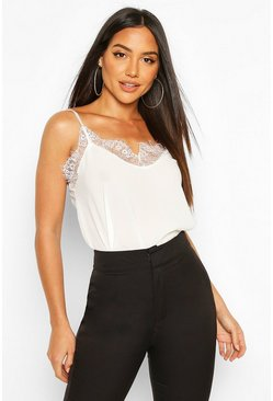 Cream Lace Trim Side Split Cami