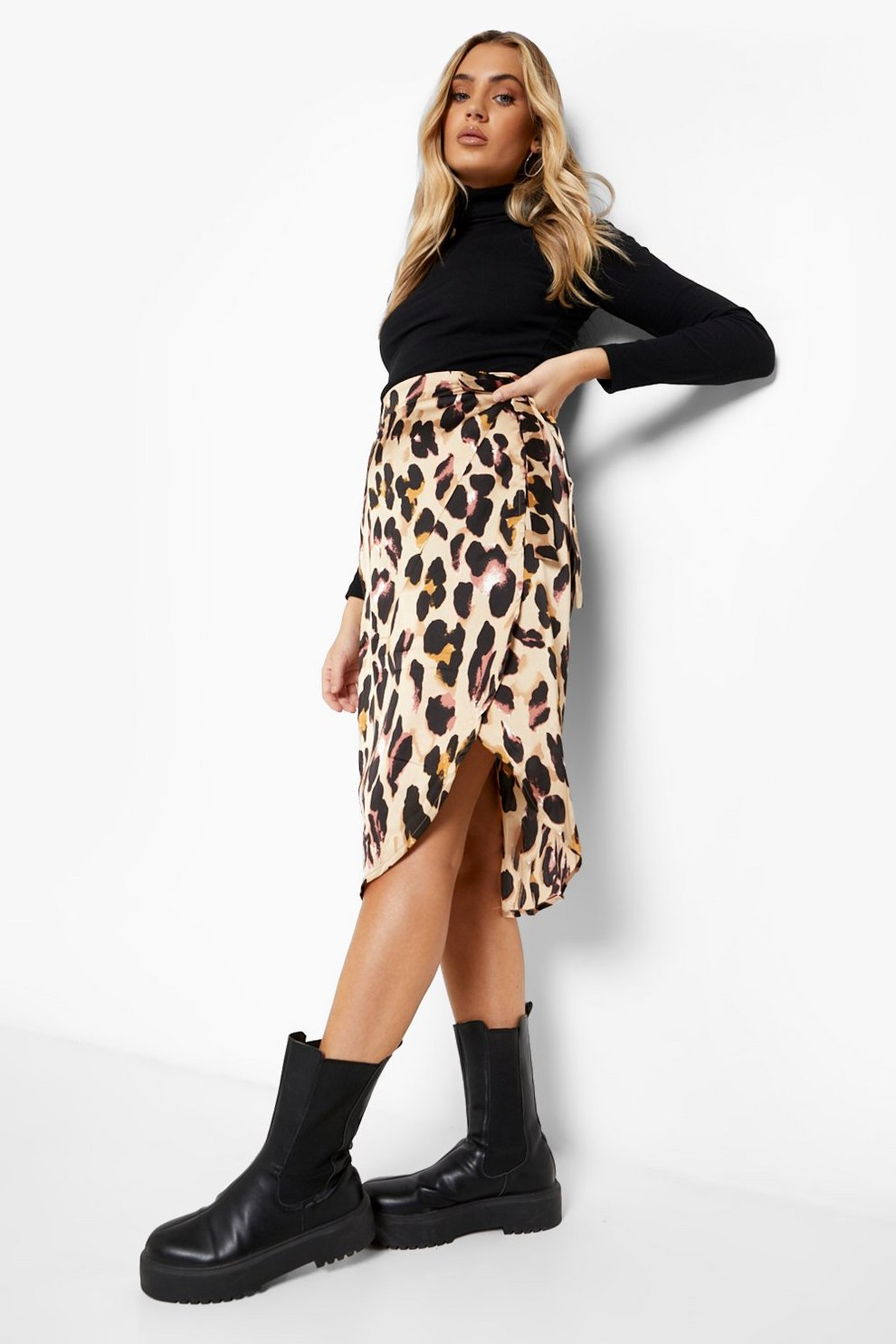 36b8d47e2a Leopard Print Satin Wrap Midi Skirt | Boohoo