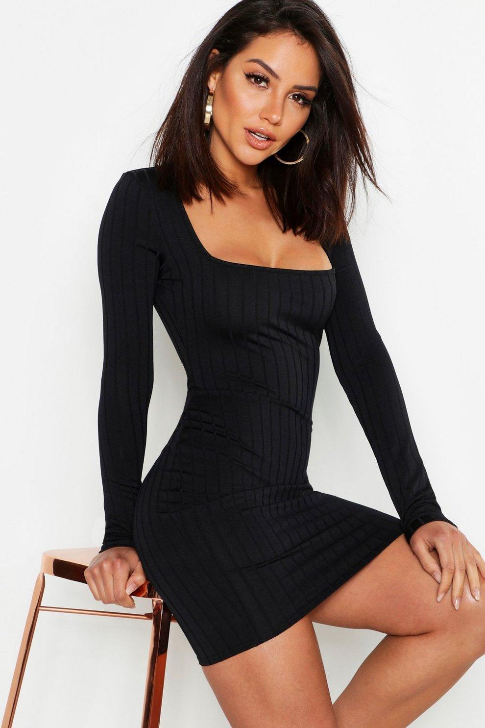 c2202cb3829e Ribbed Long Sleeve Bodycon Dress | Boohoo