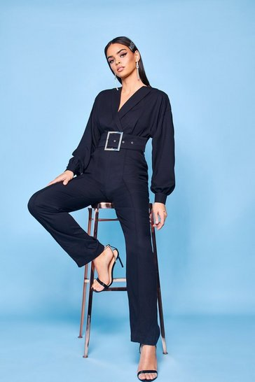 Womens Black Premium Belted Tailored Jumpsuit