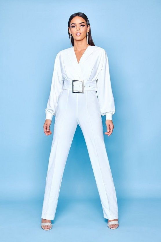 Womens Ivory Premium Belted Tailored Jumpsuit