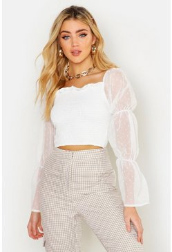 Womens White Polka Dot Mesh Shirred Square Neck Crop