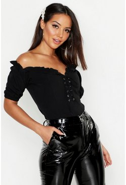 Black Lace Up Sweetheart Neckline Off Shoulder Top