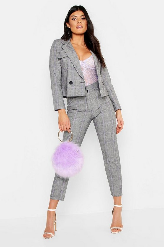 Womens Lilac Check Box Pleat Tapered Trouser
