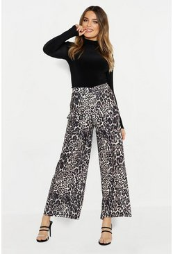 Womens Natural Leopard Wide Leg Pocket Trouser