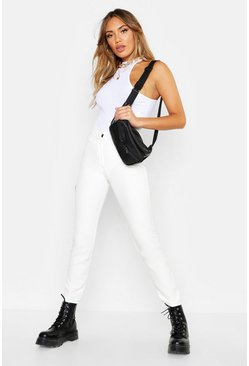 Womens White Woven Tapered Pleat Front Trouser