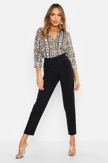 Womens Black Woven Pleated Tapered Trouser