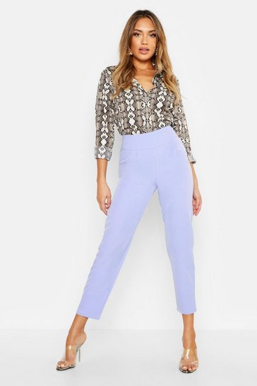 Womens Lilac Woven Pleated Tapered Trouser
