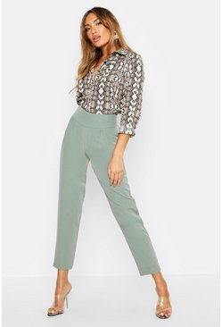 Sage Woven Pleated Tapered Trouser