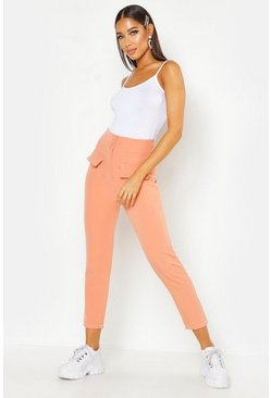 Womens Apricot Woven Contrast Stitch Pocket Trouser