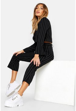 Womens Black Pinstripe Belted Kick Flare Pants