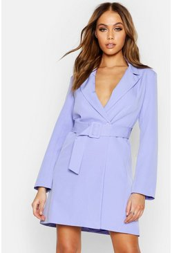 Womens Lilac Woven Belted Blazer Dress