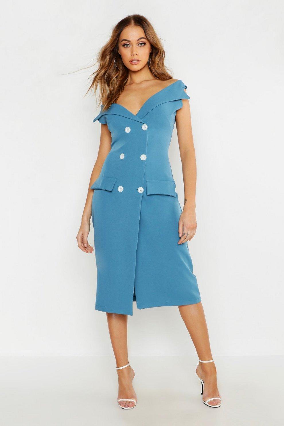 665b5791c780 Woven Double Breasted Midi Blazer Dress | Boohoo